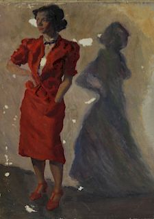 UNSIGNED. Oil on Canvas Lady in Red.