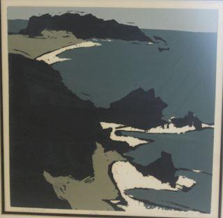 MESCHES. Oceanscape Woodblock Print.