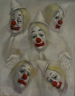LEIGHTON JONES. Gouache of Clowns.