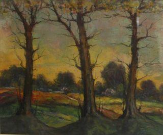 L. GECHTOFF. Pastel Forest Scene.