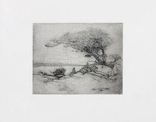 * Hazel Goetsch, (American, 1892-1984), Under the Cypress, 1918