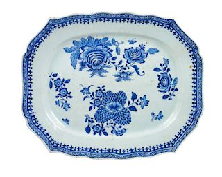 * A Chinese Export Porcelain Tray Width 16 1/2 inches.