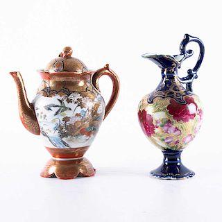 Tibor y Jarra. Siglo XX. Elaborados en cerámica policromada con detalles en dorado y azul cobalto. Decorados con motivos florales.Pzs:2
