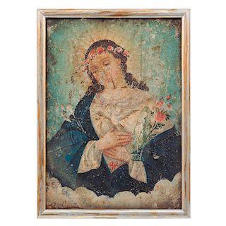 Lote de imágenes religiosas. Méx, sXIX / XX. Óleo sobre lámina de zinc. Par de imágenes de Nuestra Señora del Refugio. Par de lmagenes.