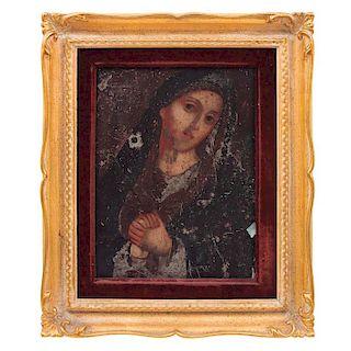 Lote de 3 imágenes religiosas. Méx, s XIX / XX. Óleo sobre lámina de zinc. Santo Niño de Atocha. Vírgen de los 7 Dolores, otro.