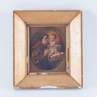 San Antonio de Padua con el niño. Principios del siglo XX. Óleo sobre tela. Enmarcado en madera dorada.
