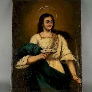 Santa Lucía de Siracusa. México, inicios del siglo XX. Óleo sobre tela. Enmarcado. 82 x 61 cm