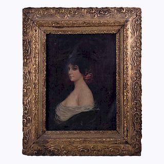 Firmado María Otero (Siglo XX) Retrato femenino. Óleo sobre tela. Firmado y fechado 1911. Enmarcado.