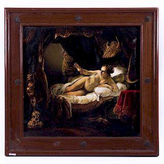 Personaje femenino desnudo. Siglo XX. Óleo sobre tabla. Enmarcado. 8 x 40 cm
