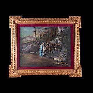 Despedida en tiempos de guerra. Siglo XX. Óleo sobre tela. Enmarcado. 56 x 70 cm.