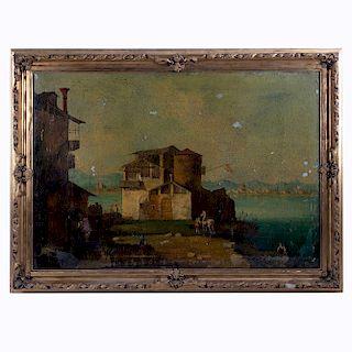 Vista de puerto. Siglo XX. Óleo sobre tela. Enmarcado. 68 x 98 cm