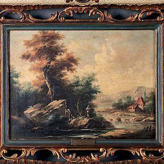 Firmado Zais. Italia, siglo XX. Paesaggio. Óleo sobre tela. Firmado en placa. Enmarcado en madera tallada con motivos calados.