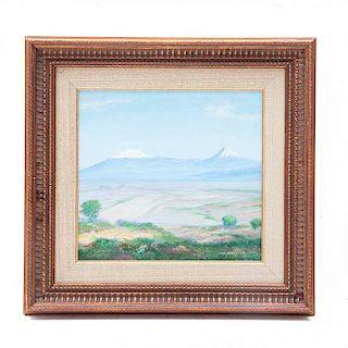 Isidro Martínez Colín. Vista del Popocatépetl y el Iztaccíhuatl. Óleo sobre fibracel. Firmado. Enmarcado.