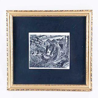 Everardo Ramírez. Tortillera. Linoleograbado, seriado. Firmado. Enmarcado. 18 x 23 cm