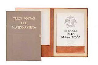León - Portilla, Miguel / Moreno de los Arcos, Roberto. Trece Poetas del Mundo Azteca / El Inicio de la Nueva España. ...