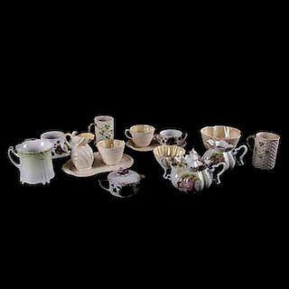 Servicio abierto de té. Alemania, Irlanda y Japón, siglo XX. Elaborados en porcelana Lefton China Hand Painted; Belleek, Pzs: 15