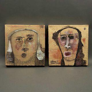 Artuto Morín. Consta de: Mujer I y Mujer II.Mixtas sobre tela. Firmadas y fechadas 019. Enmarcadas. 30 x 30 cm c/u Piezas: 2.
