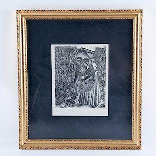 Everardo Ramírez. Campesina con niño y calabaza. Linoleograbado, 9/20 Enmarcado. 26 x 21 cm