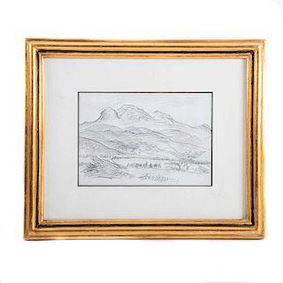 Feliciano Peña, Estudio del Iztacihuatl. Lápiz sobre papel. Con certificado. Enmarcado. 15 x 21 cm.