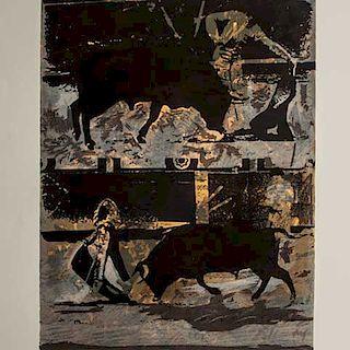 Carlos Rivera. Escena taurina. Serigrafía, 11/20 Firmada y fechada 97. Con sellos de agua. Sin enmarcar. 46 x 35 cm