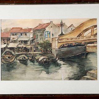 Ignacio Beteta Quintana. Marina, vista de puerto de Singapur. Acuarela sobre papel algodón. Firmada. Enmarcada.