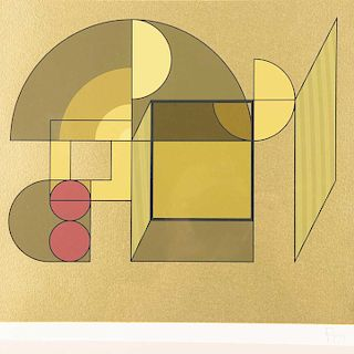 Manuel Felguérez. De al carpeta Diferencia y Continuidad. Serigrafía, s/ tiraje. Firmada con sello. Enmarcada. 30 x 34 cm.