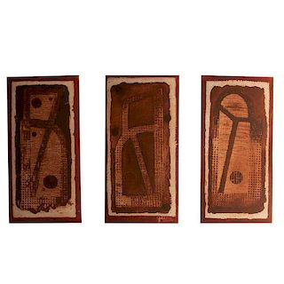 Vicente Rojo. De la serie Juego de letras. Firmados y fechados 16 Grabados al azúcar y aguatinta P / Ar. Piezas: 3