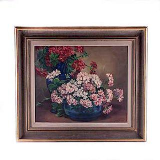 Julia G. de Correa (México, siglo XX) Bouquets. Óleo sobre tela. Firmado. Enmarcado.