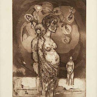 Federico Cantú. Desnudo de mujer. Grabado, P.T. 9/10 Firmado y fechado 2003. Enmarcado. 32 X 24 cm.