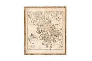 C - Anville, Jean Baptiste Bourguignon de. Gracieae Antiquae Specimen Geographicum. Paris: Guilleaume de la Haye, 1762. Mapa grabado.