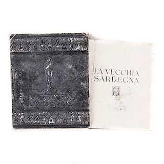 """Barabino, Saiga. """"La Vecchia Sardegna"""" Italia. Ediciones Omaggio.1934. Carpeta con reproducciones de fotografías de la Antigua Cerdeña."""