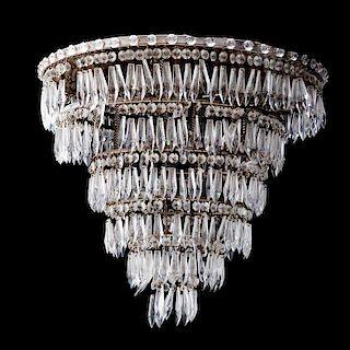 Lámpara de techo. Siglo XX. Estructura de metal cromado. Para siete luces. Diseño circular concéntrico y escalonado.