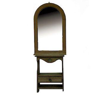 Mesa de noche con espejo. Siglo XX. Elaborados en madera tallada con luna. Diseño Rústico. Piezas: 2