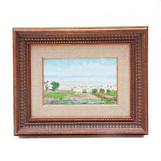 Isidro Martínez Colín. Vista del Valle de México. Óleo sobre fibracel. Firmado. Enmarcado.