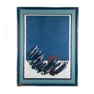 Composición abstracta. Siglo XX. Serigrafía, 43/50. Firmado y fechado 86. Enmarcada. 69 x 52 cm.