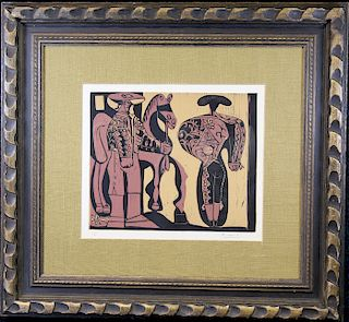 """Picasso """"Picador and Matador"""" Linocut"""