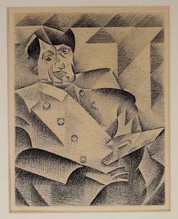 Portrait of Picasso After Juan Gris Etching