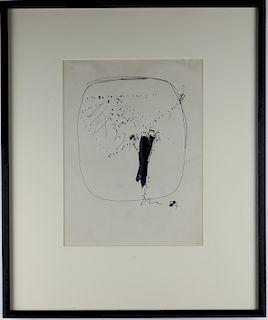 Lucio Fontana 1899-1968 Abstract Ink Art Painting