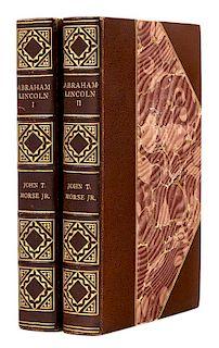 [AMERICAN STATESMAN]. – MORSE, John T. (1840-1937). Abraham Lincoln. Boston and New York: Houghton Mifflin Company, 1893.