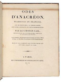 ANACREON (?572-?488 B.C.). Odes...traduites en francois... Paris: Didot l'aone, an VII [1799].