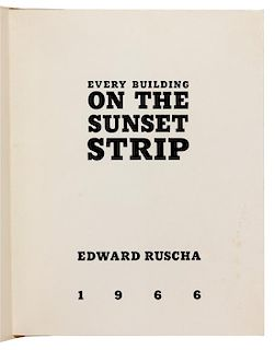 * RUSCHA, Edward (b. 1937). Every Building on the Sunset Strip. [Hollywood: printed by Cinema Center Printing Co.,] 1966.