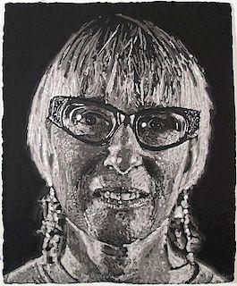 Chuck Close (b. 1940) Janet, 2007, Stencil (handmade paper pulp) print,