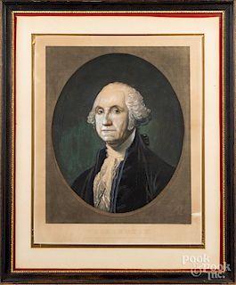 After Gilbert Stuart, paint enhanced print