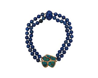 SEAMAN SCHEPPS 14K Gold, Turquoise, and Lapis Lazuli Necklace