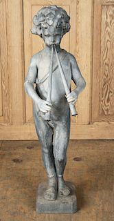 19TH C. FRENCH ZINC GARDEN FIGURE OF PAN