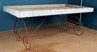 ZING AND IRON POTTING TABLE SCROLL FORM BASE