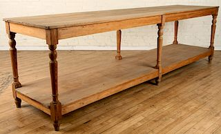 LARGE FRENCH PINE DRAPER TABLE 1890