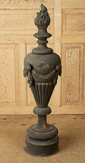 LARGE FRENCH COPPER FLAME FINIAL ELEMENT C.1900