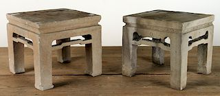 RARE PAIR OF CHINESE CARVED STONE TABLES