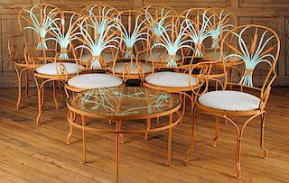 FRENCH GARDEN SET TEN CHAIRS ONE TABLE 1940